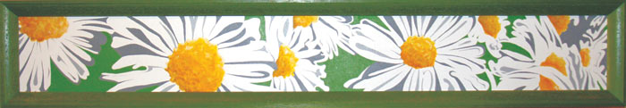 "Annie's Daisies • Framed 10x52"" • Original Acrylic Painting on Canvas"