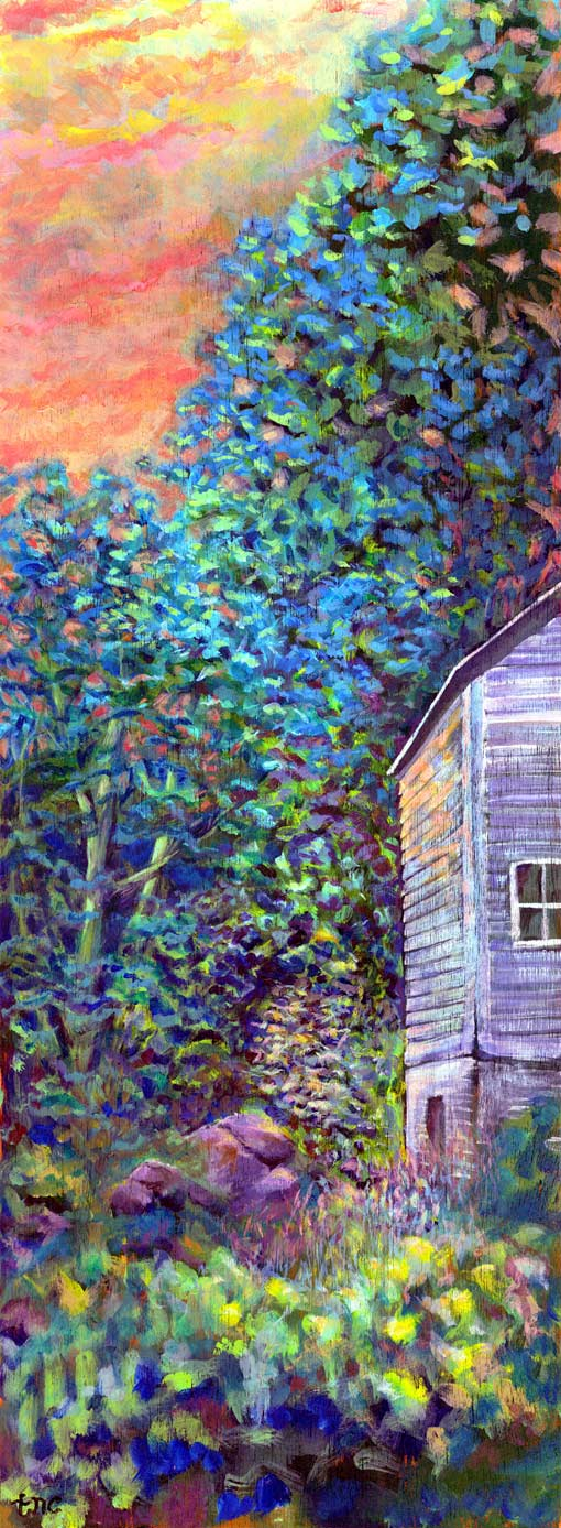 "Backyard Barn • Framed 16x37"" • Original Acrylic Painting on Birchwood"