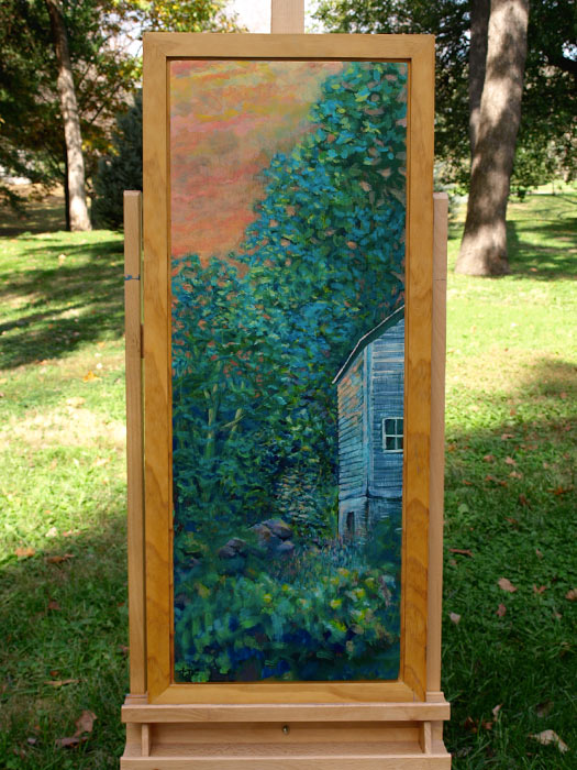 "Backyard Barn - 16x37"" Acrylic Painting Framed"