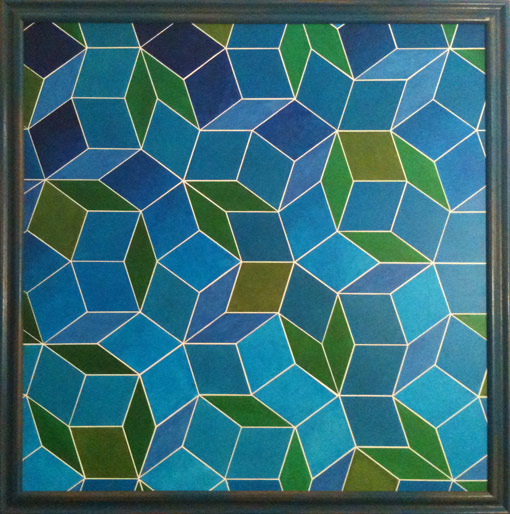 "Blue Penrose • Framed 54x54"" • Original Acrylic Painting on Board"