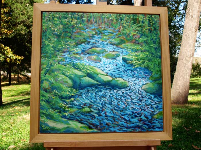 "Bubbling Trail - 23x23"" Acrylic Painting Framed"