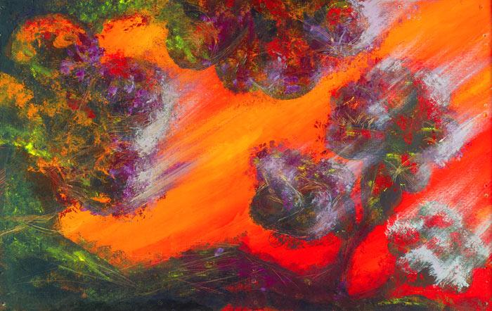 "Burning Warmth • Framed 28x44"" • Original Acrylic Painting on Panel"