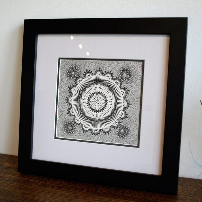 """Doodle 17 - 18x18"""" Original Black Pen Framed"""
