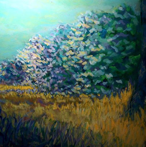 "East Meadow • Framed 24x24"" • Original Acrylic Painting on Board"