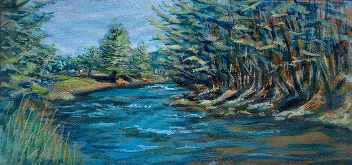 "Hawley PA • Canvas Wrap 6x13"" • Original Acrylic Painting on Canvas"