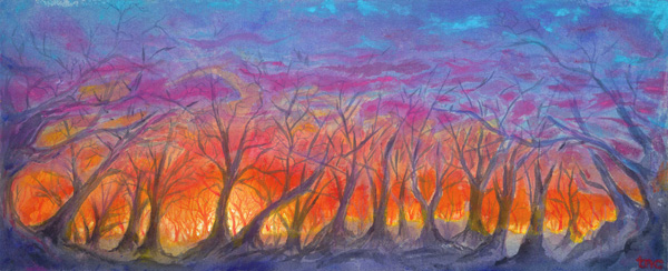 "Melting Sunset • Framed 12x30"" • Original Acrylic Painting on Canvas"