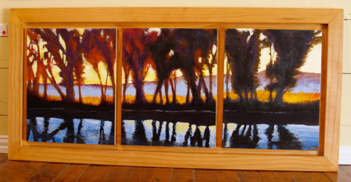 "October 5th • Framed 25x52"" • Original Acrylic Painting on 3 Boards"
