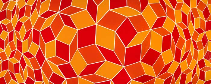 "Orange Penrose • Framed 25x63"" • Original Acrylic Painting on Board"