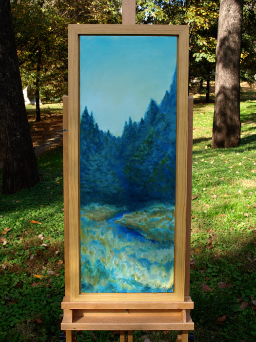 "Pine Retreat - 16x36"" Acrylic Painting Framed"