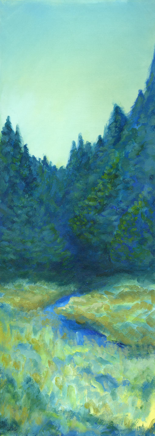 "Pine Retreat • Framed 16x38"" • Original Acrylic Painting on Canvas"