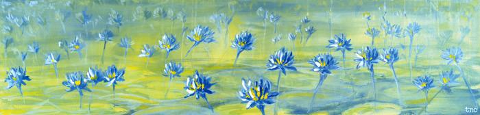 "Purple Lilies • Gallery Wrap 13x54"" • Original Acrylic Painting on Canvas"