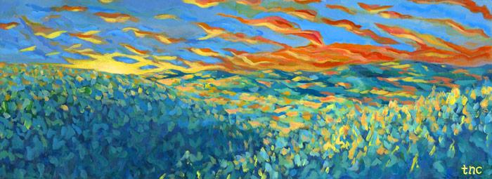 "Recline Unwind • Framed 13x36"" • Original Acrylic Painting on Board"