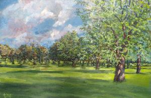 Elmwood Park Acrylic Painting by Tom Cornish