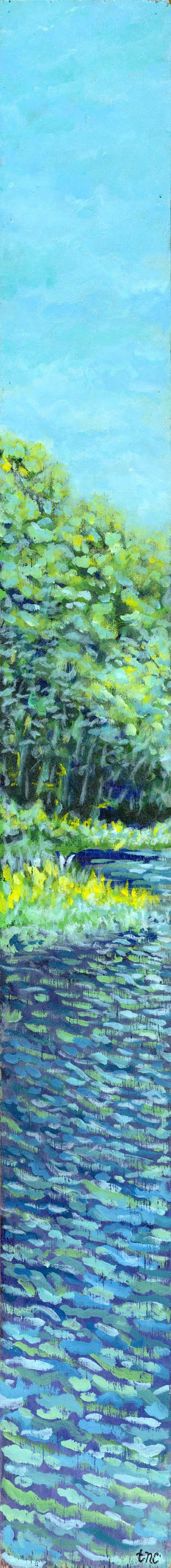 "Tall Pond • Framed 7x64"" • Original Acrylic Painting on Wood Panel"