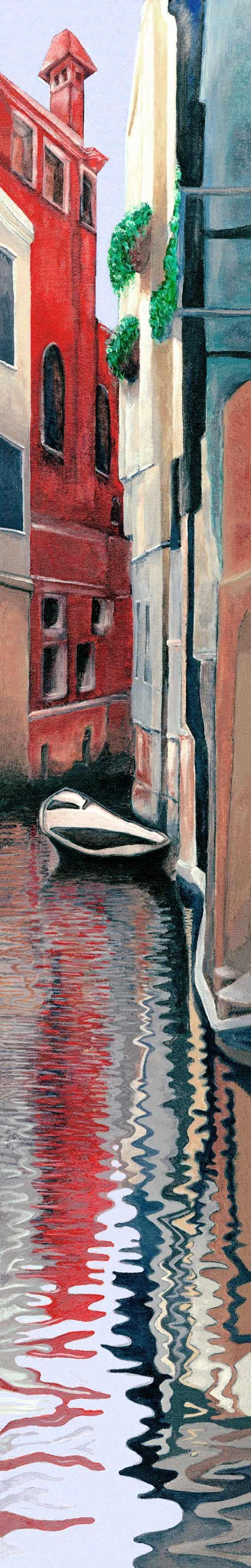 """Venice Daydreaming • Framed 6x38"""" • Original Acrylic Painting on Canvas"""