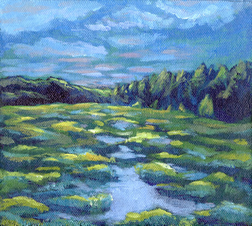 "Water Wetland • Framed 14x13"" • Original Acrylic Painting on Canvas"