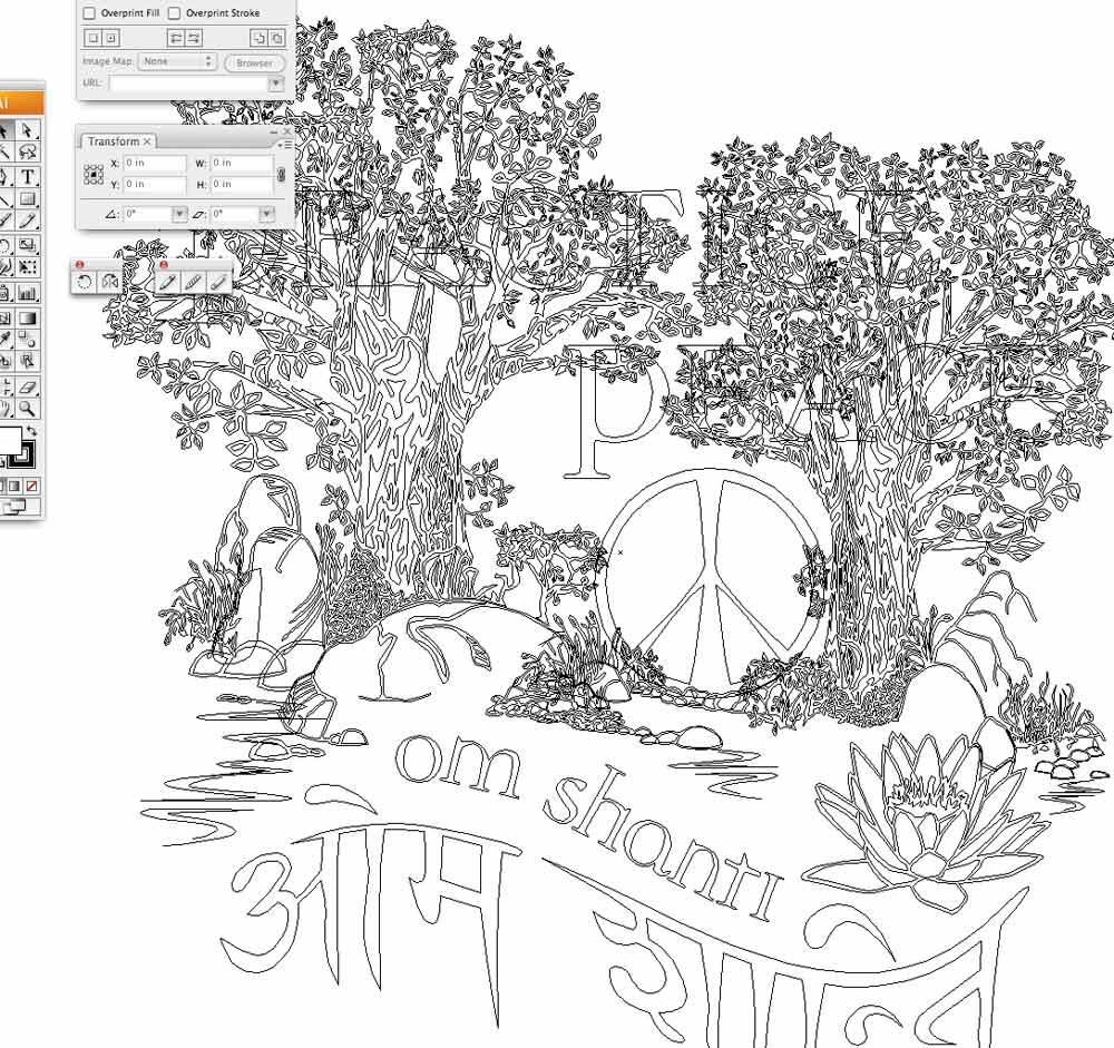 Practice Peace   Vector Outline in Adobe Illustrator by Tom Cornish